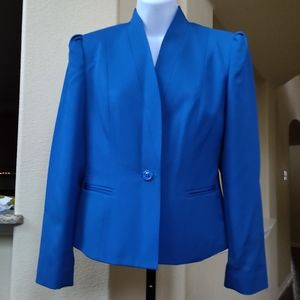 Sakowitz Exquisite Vintage Royal Blue Skirt Suit